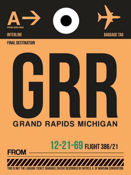 Wall Art - Digital Art - Grr Grand Rapids Luggage Tag I by Naxart Studio