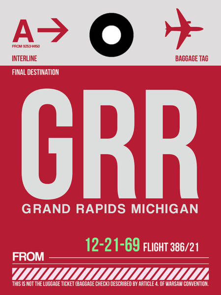 Wall Art - Digital Art - Grr Grand Rapids Luggage Tag II by Naxart Studio