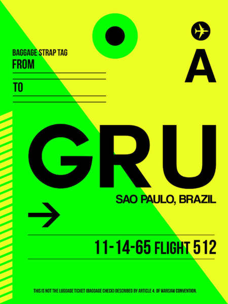 Wall Art - Digital Art - Gru Sao Paulo Luggage Tag I by Naxart Studio