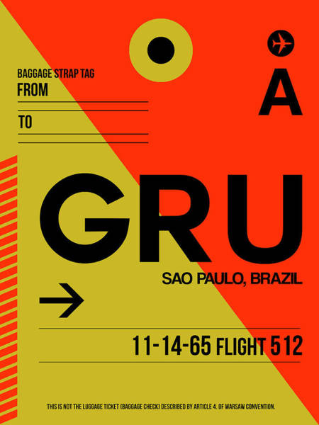 Wall Art - Digital Art - Gru Sao Paulo Luggage Tag II by Naxart Studio