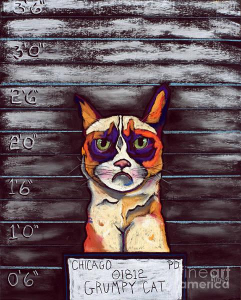 Wall Art - Painting - Grumpy Cat Mugshot by David Hinds