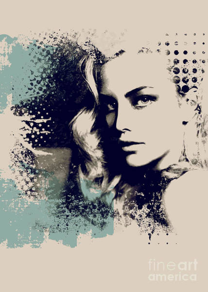 Wall Art - Digital Art - Grunge Composition  With A Pretty  Girl by Alisa Franz
