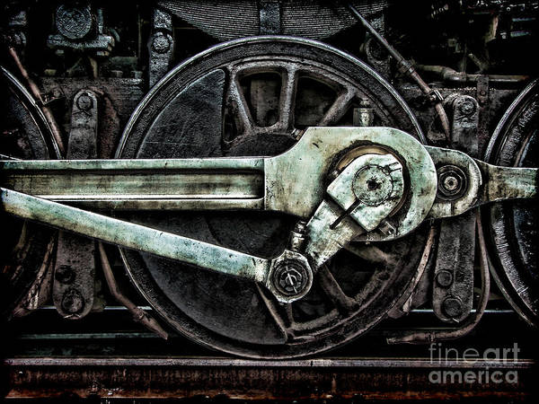 Wall Art - Photograph - Grunge Old Steam Locomotive Wheel And by Olivier Le Queinec