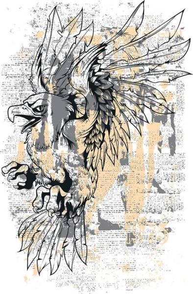 Digital Art - Grunge Vintage Eagle by Passion Loft