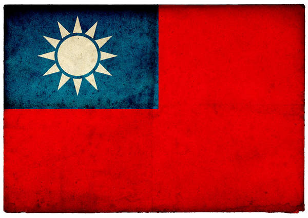 Taiwanese Wall Art - Photograph - Grungetaiwanese Flag On Rough Edged Old by Abzee