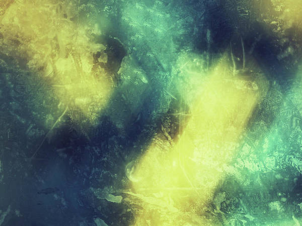 Photograph - Grungy Colorful Watercolor Abstract Art With Muted Yellows, Blues And Greens by Teri Virbickis