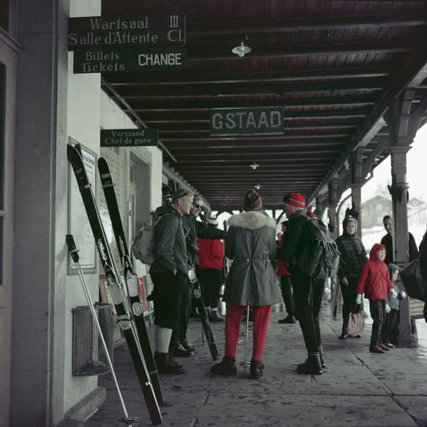 People Photograph - Gstaad Station by Slim Aarons