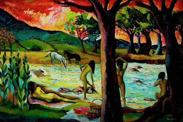 Groups Of People Painting - Guachico River, 1992 Oil On Canvas by Hermann Ayerbe