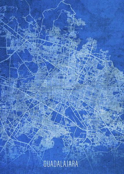 Wall Art - Mixed Media - Guadalajara Mexico City Street Map Blueprints by Design Turnpike