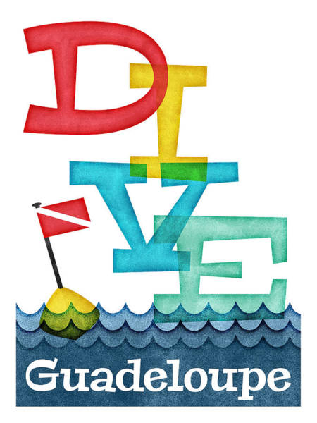 Scuba Digital Art - Guadeloupe Dive - Colorful Scuba by Flo Karp
