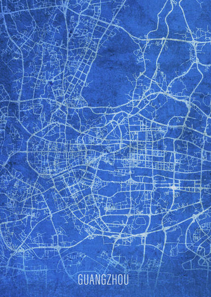 Wall Art - Mixed Media - Guangzhou China City Street Map Blueprints by Design Turnpike
