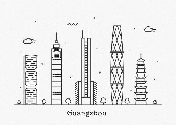 Landmark Center Drawing - Guangzhou Cityscape Travel Poster by Inspirowl Design