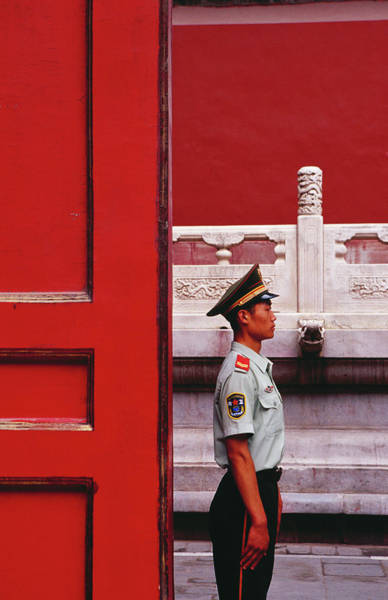Chinese Clothing Wall Art - Photograph - Guard On Duty In The Forbidden City by Richard I'anson