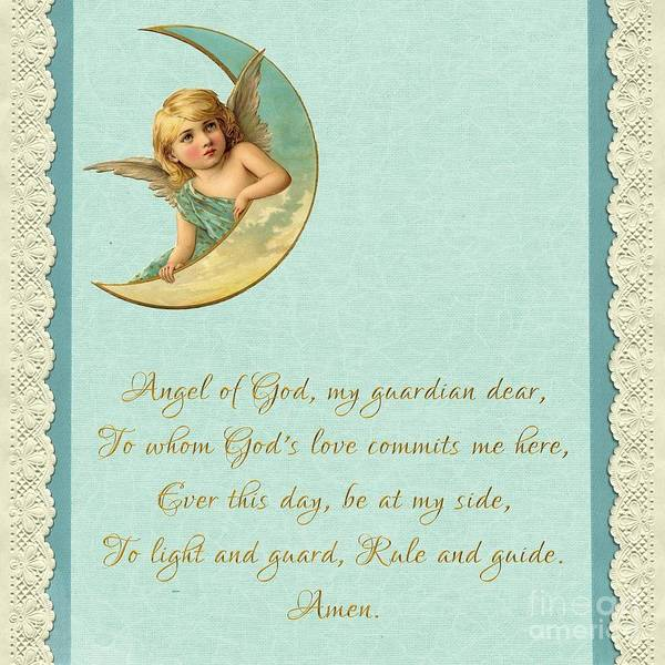 Digital Art - Guardian Angel Prayer In Gold Script by Rose Santuci-Sofranko