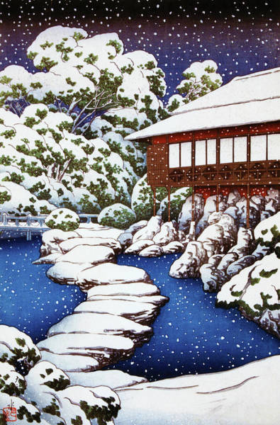 Wall Art - Painting - Guest House By The Pond In Snow, Scenes Of The Mitsubishi Fukagawa by Kawase Hasui