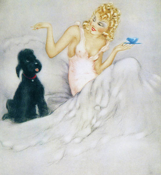 Wall Art - Painting - Guest, Morning Cup - Digital Remastered Edition by Louis Icart