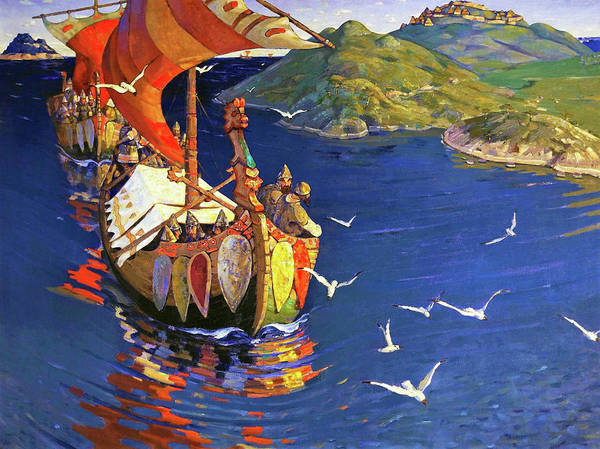 Russian River Painting - Guests From Overseas - Digital Remastered Edition by Nicholas Roerich
