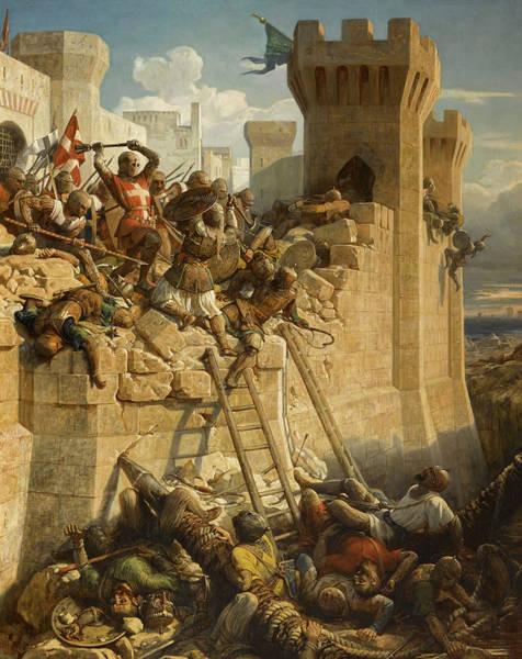 Wall Art - Painting - Guillaume De Clermont Defend La Ville D'acre, 1291 by Dominique Papety