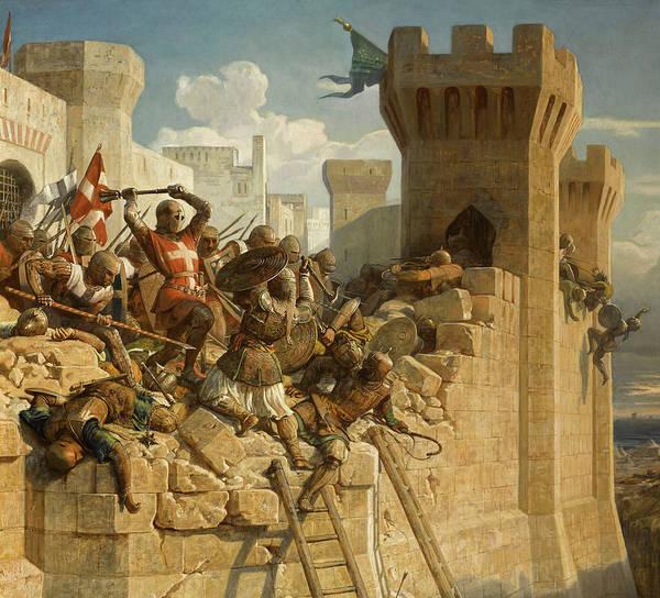Wall Art - Painting - Guillaume De Clermont Defend La Ville D'acre by Dominique Papety