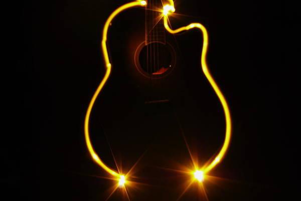 Light Photograph - Guitar Light Painting by Adechan