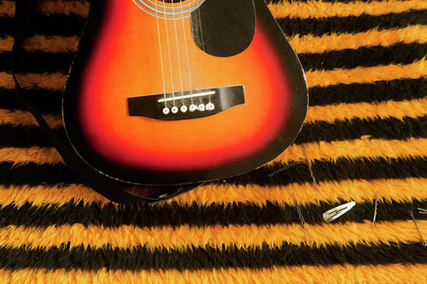 Horizontal Stripes Photograph - Guitar On Yellow And Black Striped by Tracy Packer Photography