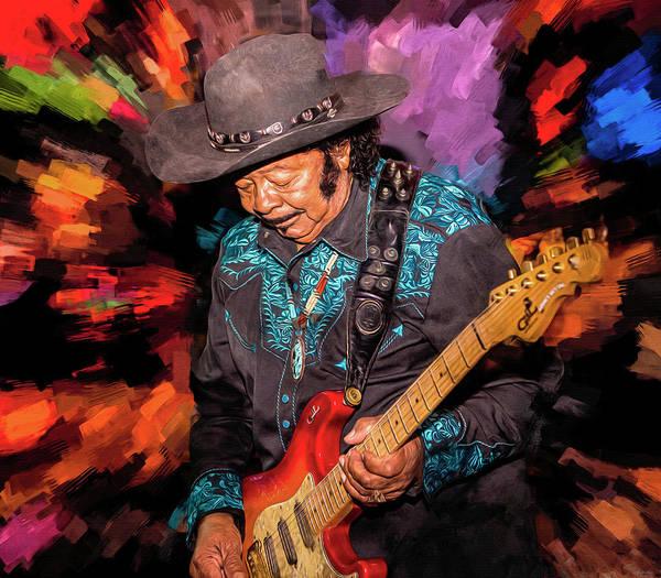 Wall Art - Mixed Media - Guitar Shorty by Mal Bray