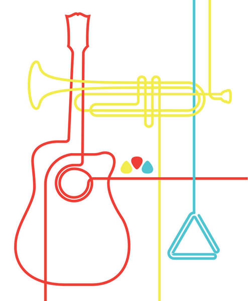Vertical Line Digital Art - Guitar, Trumpet And Triangle by Will Scobie