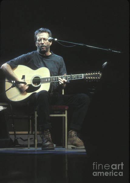 Wall Art - Photograph - Guitarist Eric Clapton Acoustic by Concert Photos