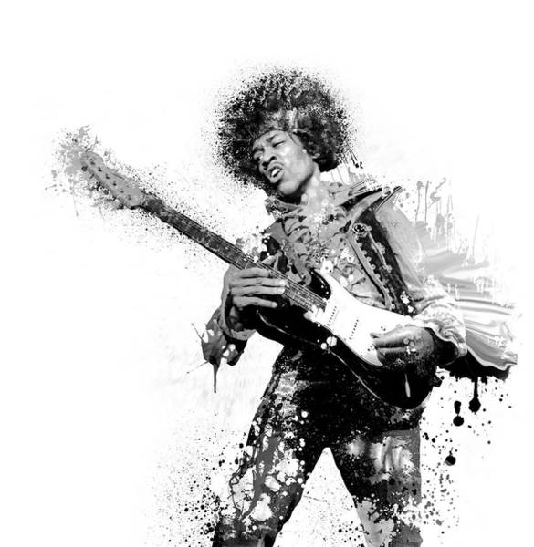 Wall Art - Digital Art - Guitarist Jimi Hendrix - T-shirt by Daniel Hagerman