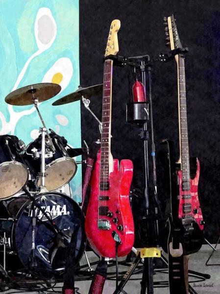 Photograph - Guitars And Drum Set by Susan Savad
