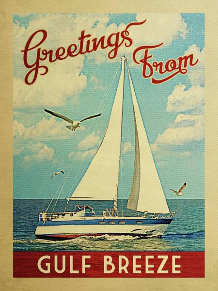 Gulf Digital Art - Gulf Breeze Sailboat Vintage Travel by Flo Karp