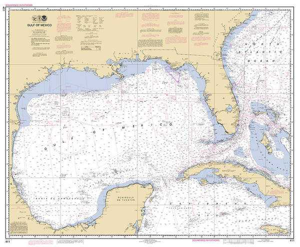 Digital Art - Gulf Of Mexico, Noaa Chart 411 by Paul and Janice Russell