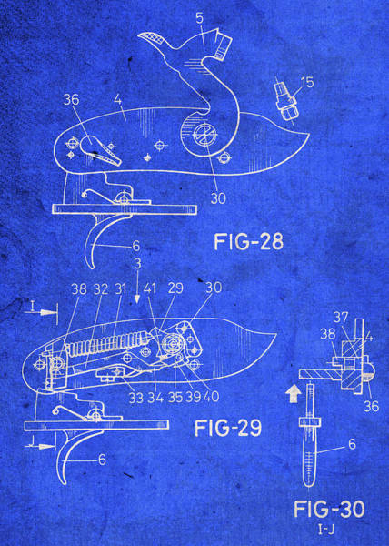 Patent Mixed Media - Gun Lock Vintage Patent Blueprint by Design Turnpike