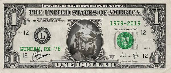 Tribute Digital Art - Gundam Dollar by Andrea Gatti