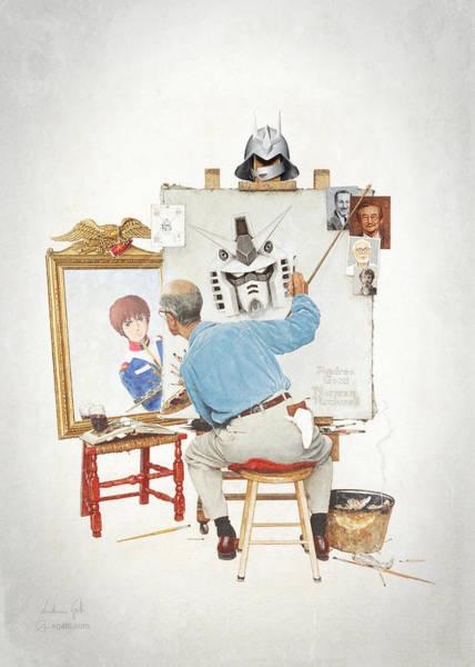 Wall Art - Digital Art - Gundam Triple Self Portrait by Andrea Gatti