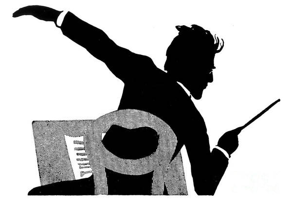 Wall Art - Drawing - Gustav Mahler Conducting by Therese Eleonore Lingee
