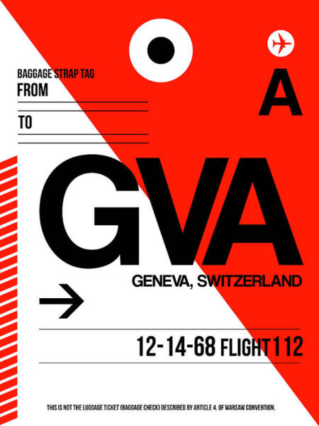 Wall Art - Digital Art - Gva Geneva Luggage Tag I by Naxart Studio