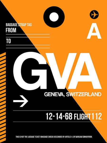Wall Art - Digital Art - Gva Geneva Luggage Tag II by Naxart Studio