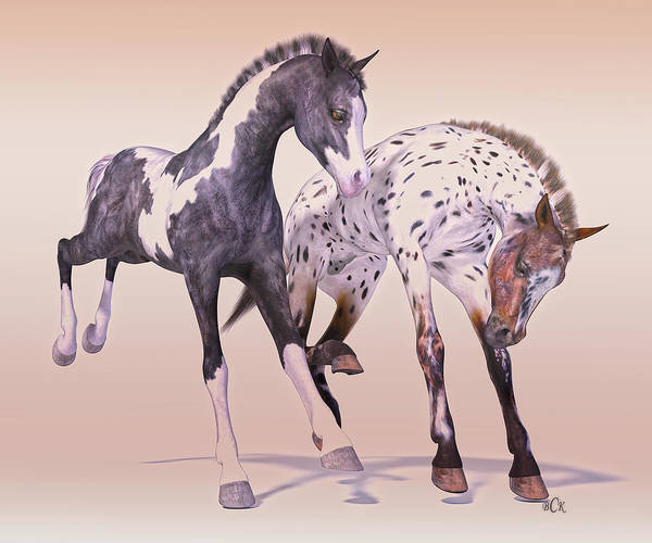 Wall Art - Digital Art - Gypsy Vanner And Leopard Appaloosa Best Friends by Betsy Knapp