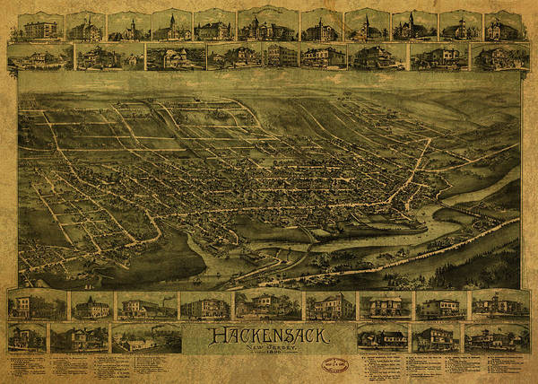New Jersey Mixed Media - Hackensack New Jersey Vintage City Street Map 1896 by Design Turnpike