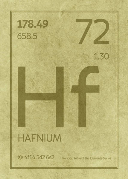 Elements Mixed Media - Hafnium Element Symbol Periodic Table Series 072 by Design Turnpike