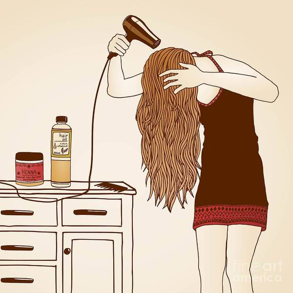 Health Wall Art - Photograph - Hair Care Illustration No. 23 Colored by Franzi