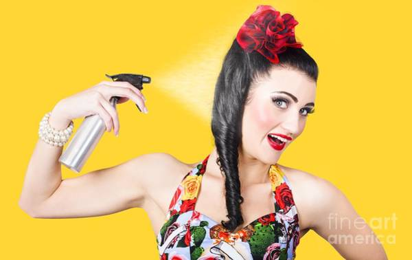 Stylists Photograph - Haircare. Brunette Pinup Woman Using Hair Product by Jorgo Photography - Wall Art Gallery