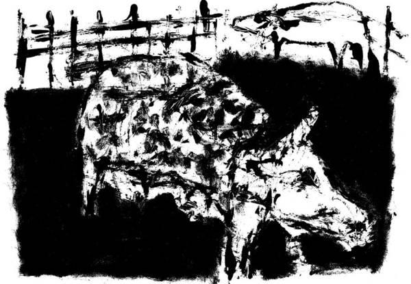 Digital Art - Hairy Pig Digitally Whitened Paper by Artist Dot