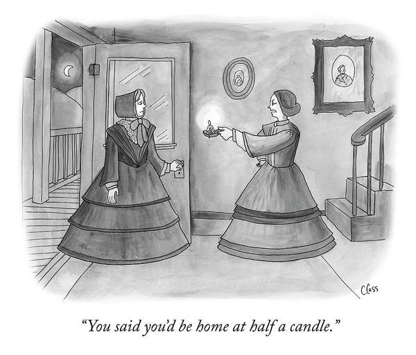 Home Drawing - Half A Candle by Caitlin Cass