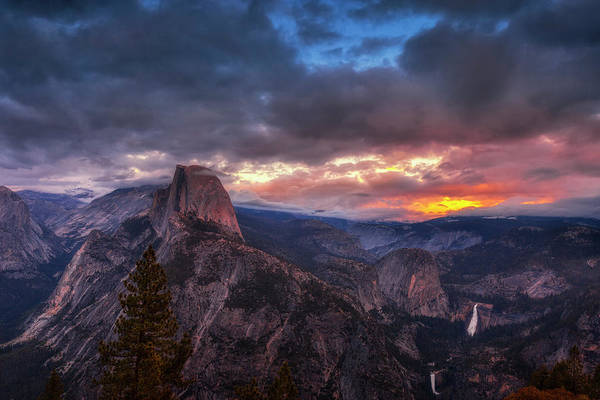 Remote Photograph - Half Dome At Sunset by Andrew Soundarajan