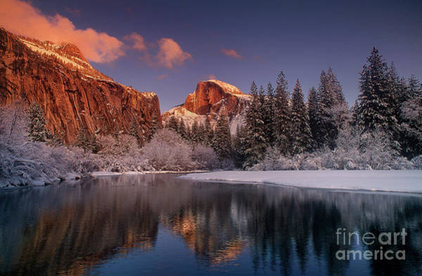 Photograph - Half Dome Merced River Winter Yosemite National Park California by Dave Welling