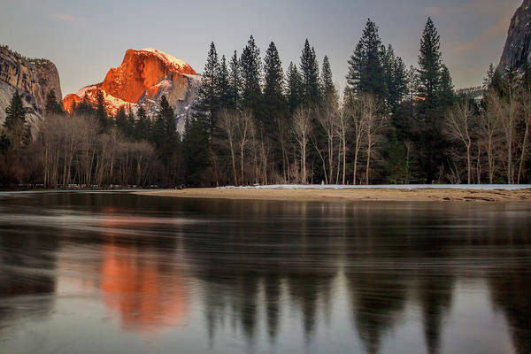 Half Dome Sunset In Winter Art Print