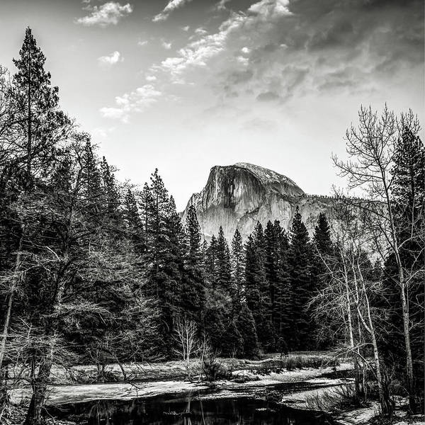 Photograph - Half Dome Yosemite Mountain Landscape In Black And White by Gregory Ballos