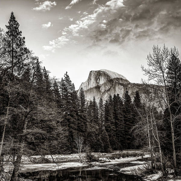 Photograph - Half Dome Yosemite Mountain Landscape In Sepia Monochrome by Gregory Ballos